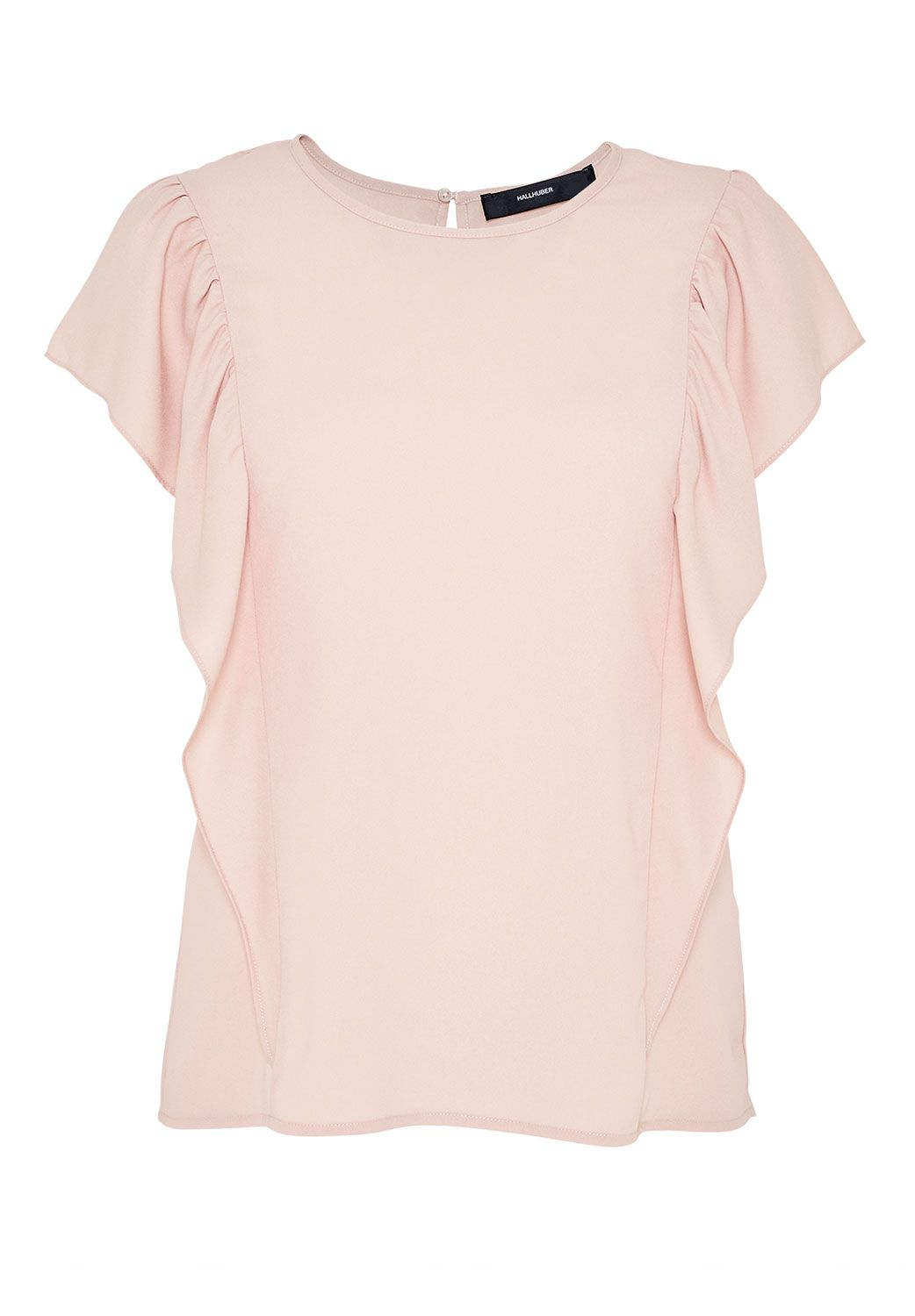 Hallhuber Top with long flounce shoulders, Pink