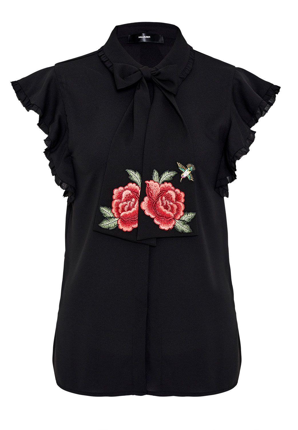 Hallhuber Flounce blouse with embroidered tie-neck, Black