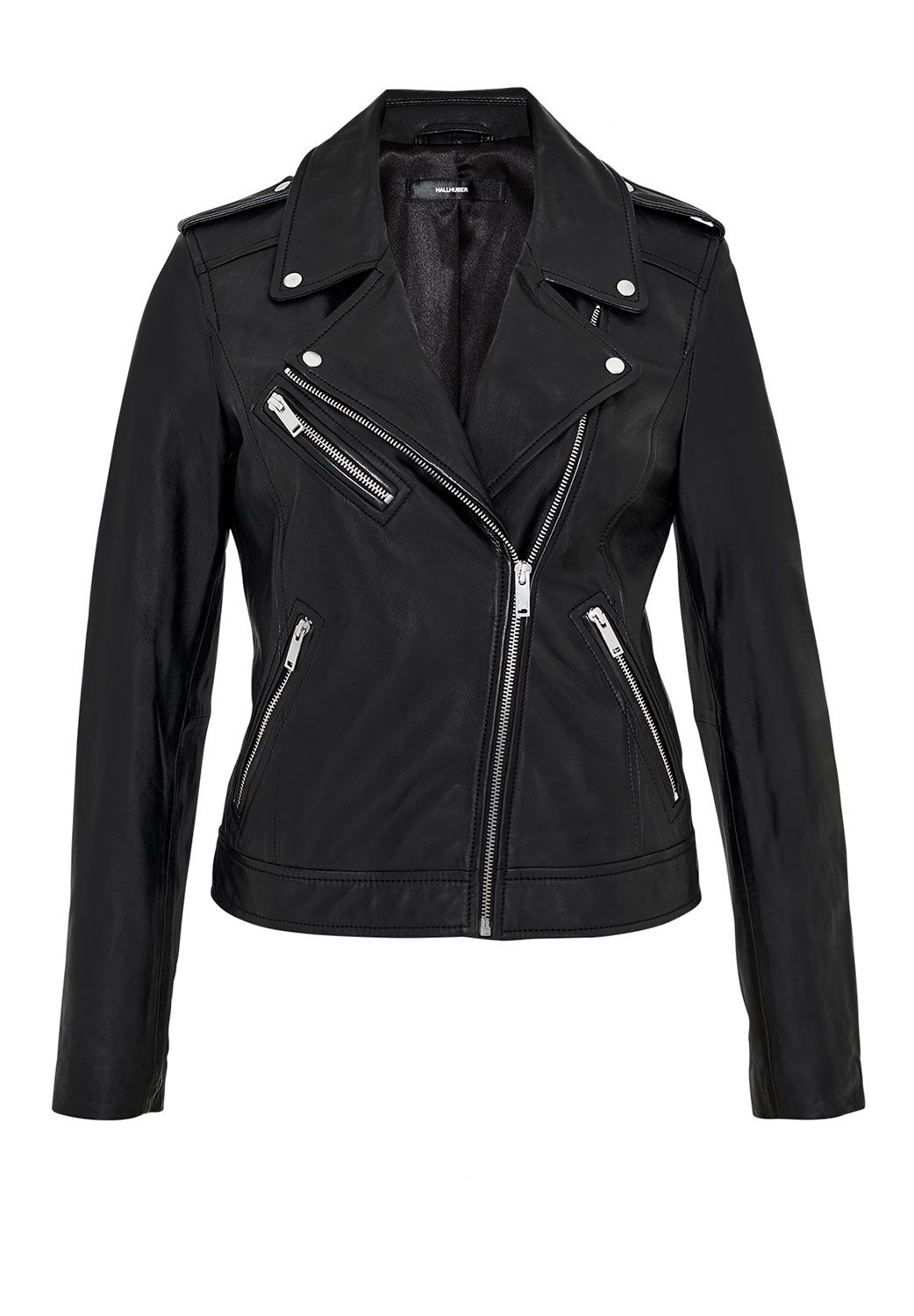 Hallhuber Leather biker jacket with zippers, Black