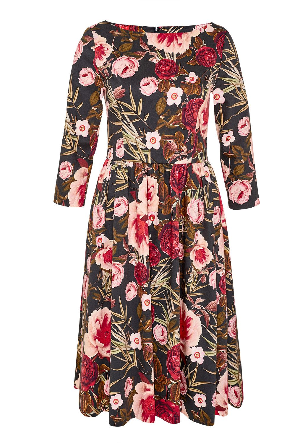Hallhuber Rose print A-line dress, Multi-Coloured