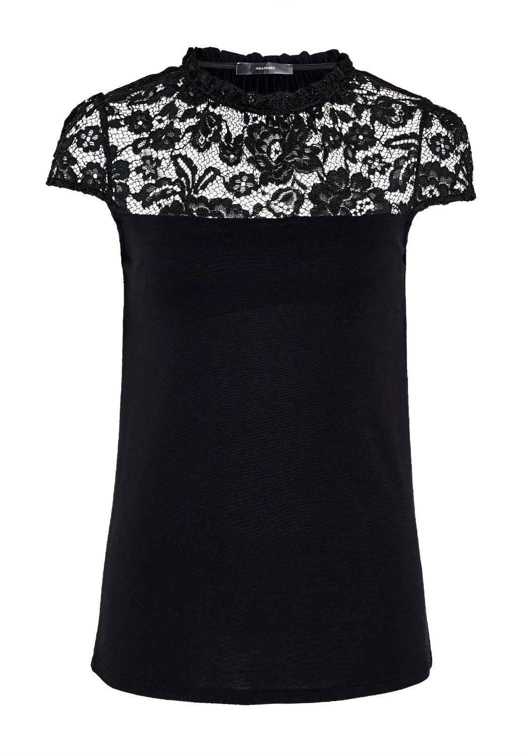 Hallhuber A-Line top with lace yoke, Black