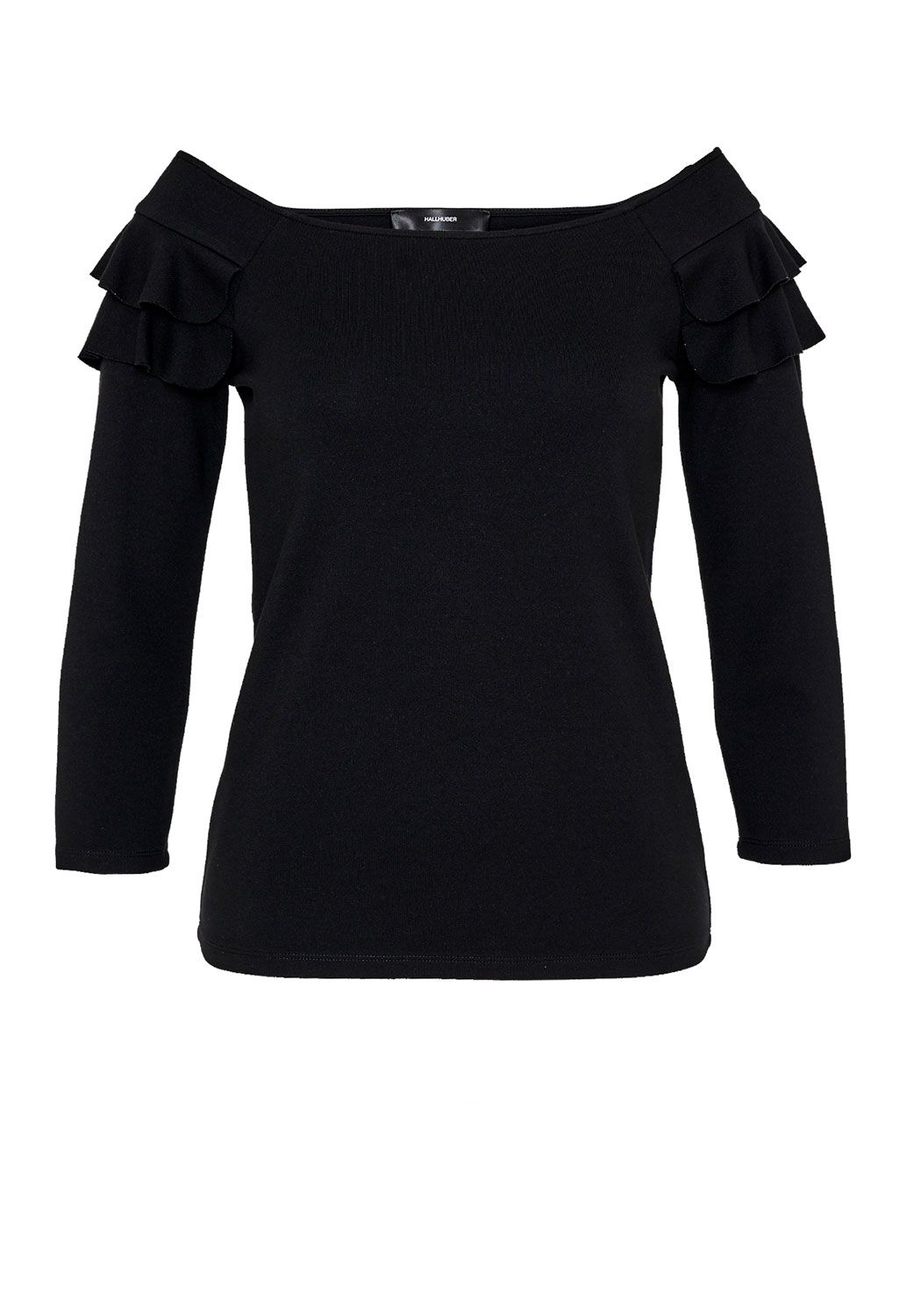 Hallhuber Off-the-shoulder ruffle top, Black