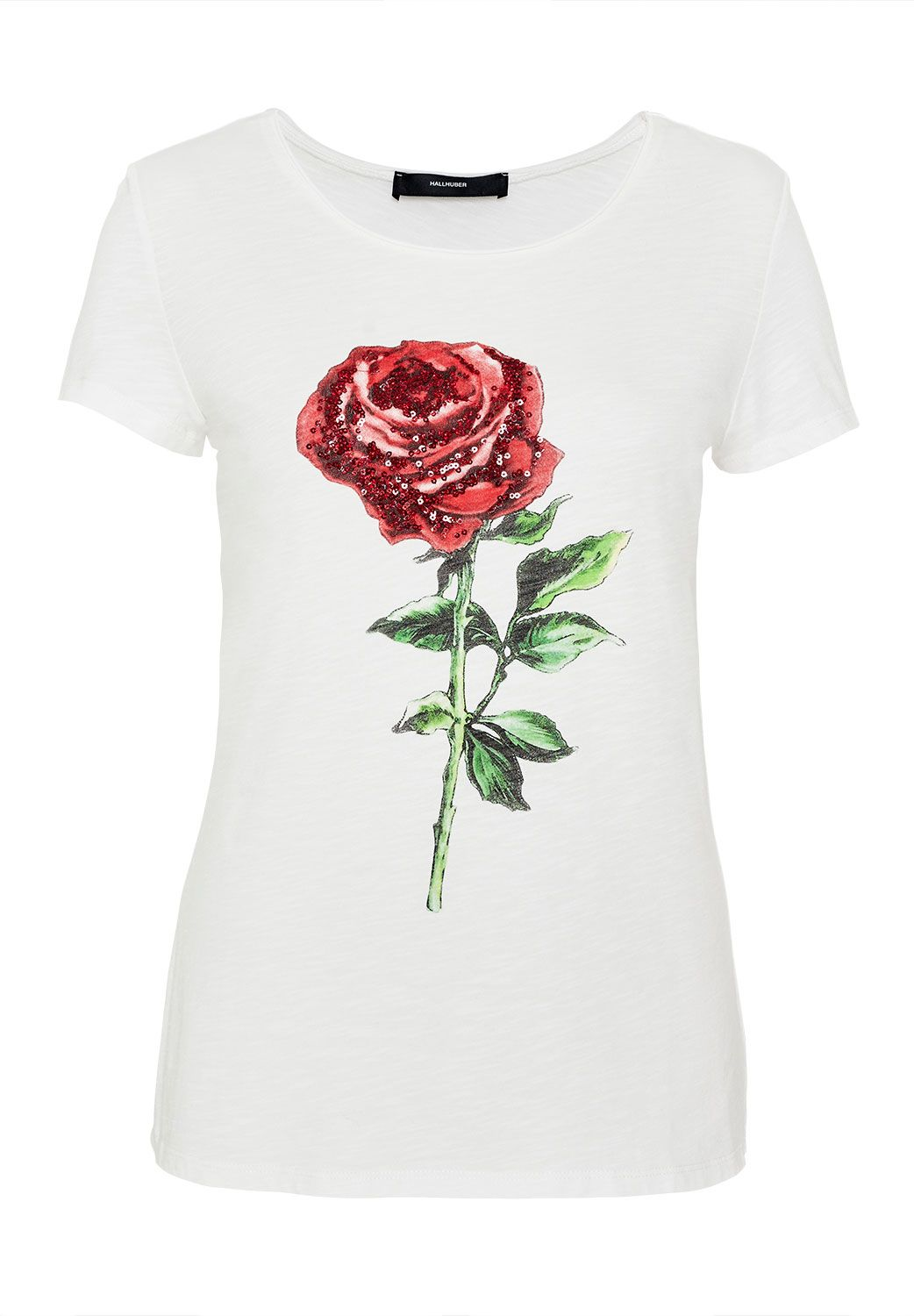 Hallhuber Sequin embellished rose print T-shirt, White