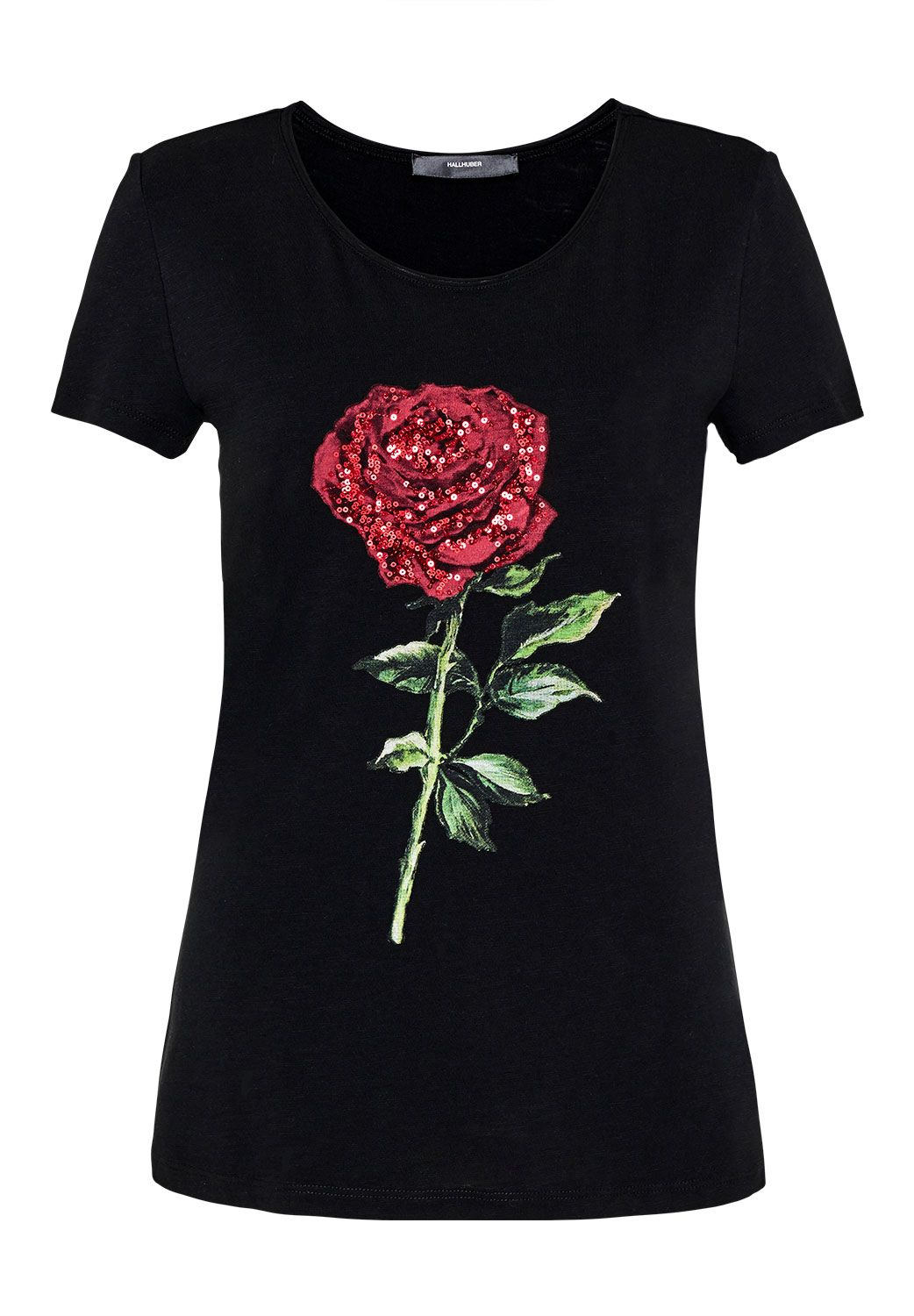 Hallhuber Sequin embellished rose print T-shirt, Black