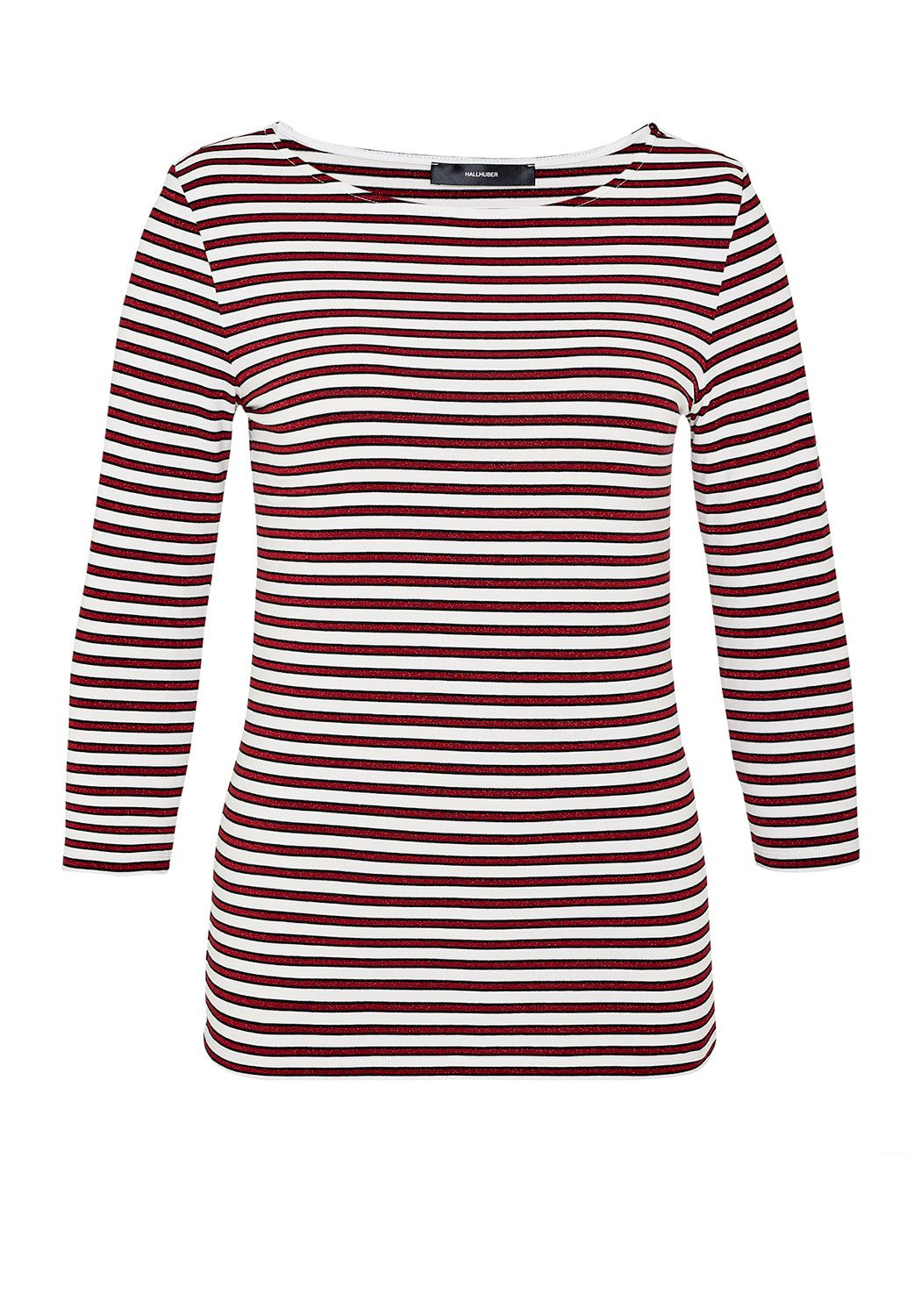 Hallhuber Stripe top with three-quarter sleeves, Red