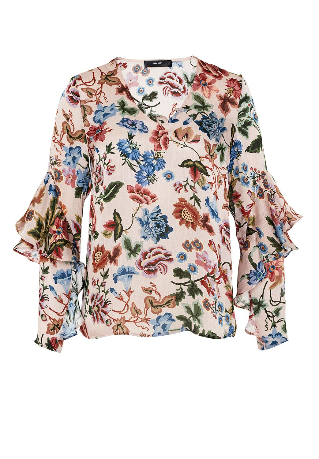 Hallhuber Flounce sleeve blouse, Multi-Coloured