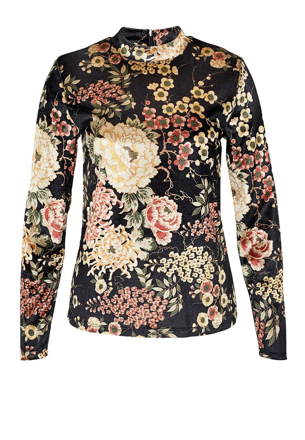 Hallhuber Velvet long sleeve with floral print, Multi-Coloured