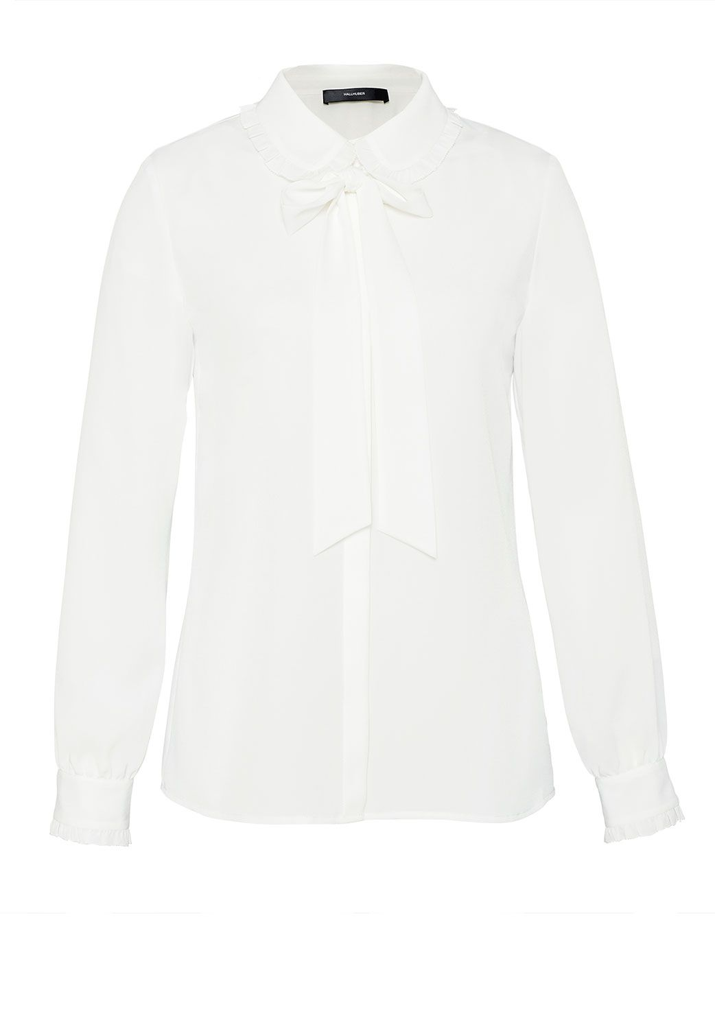 Hallhuber Ruffle blouse with bow detail, White