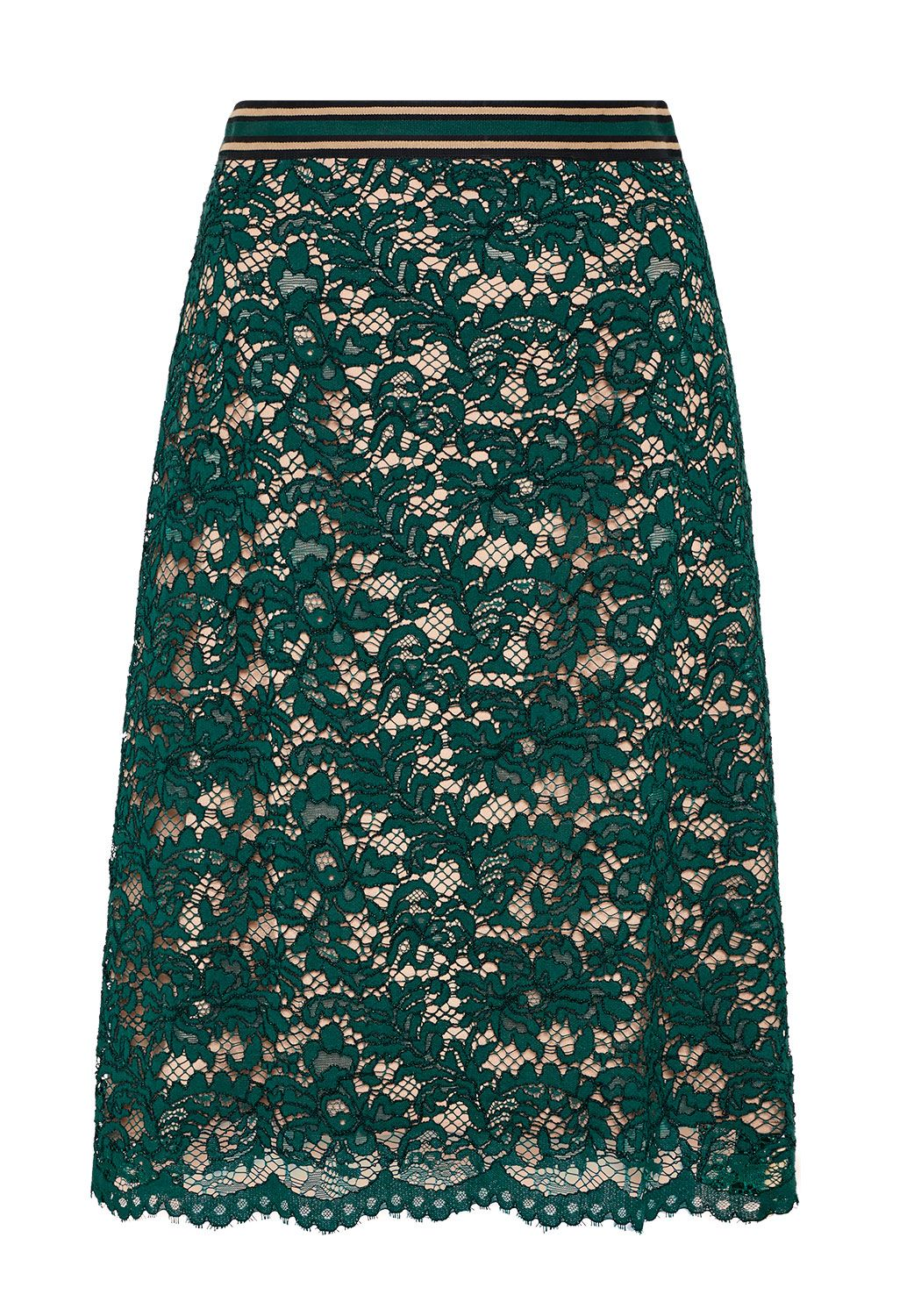 Hallhuber Lace skirt with contrast lining, Blue
