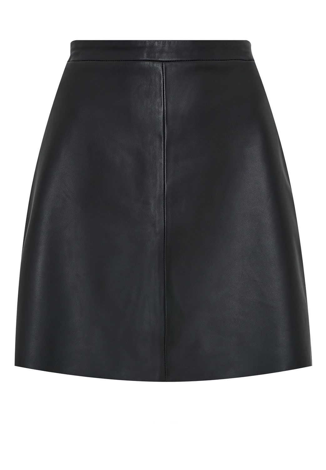 Hallhuber A-line skirt made of nappa leather, Black