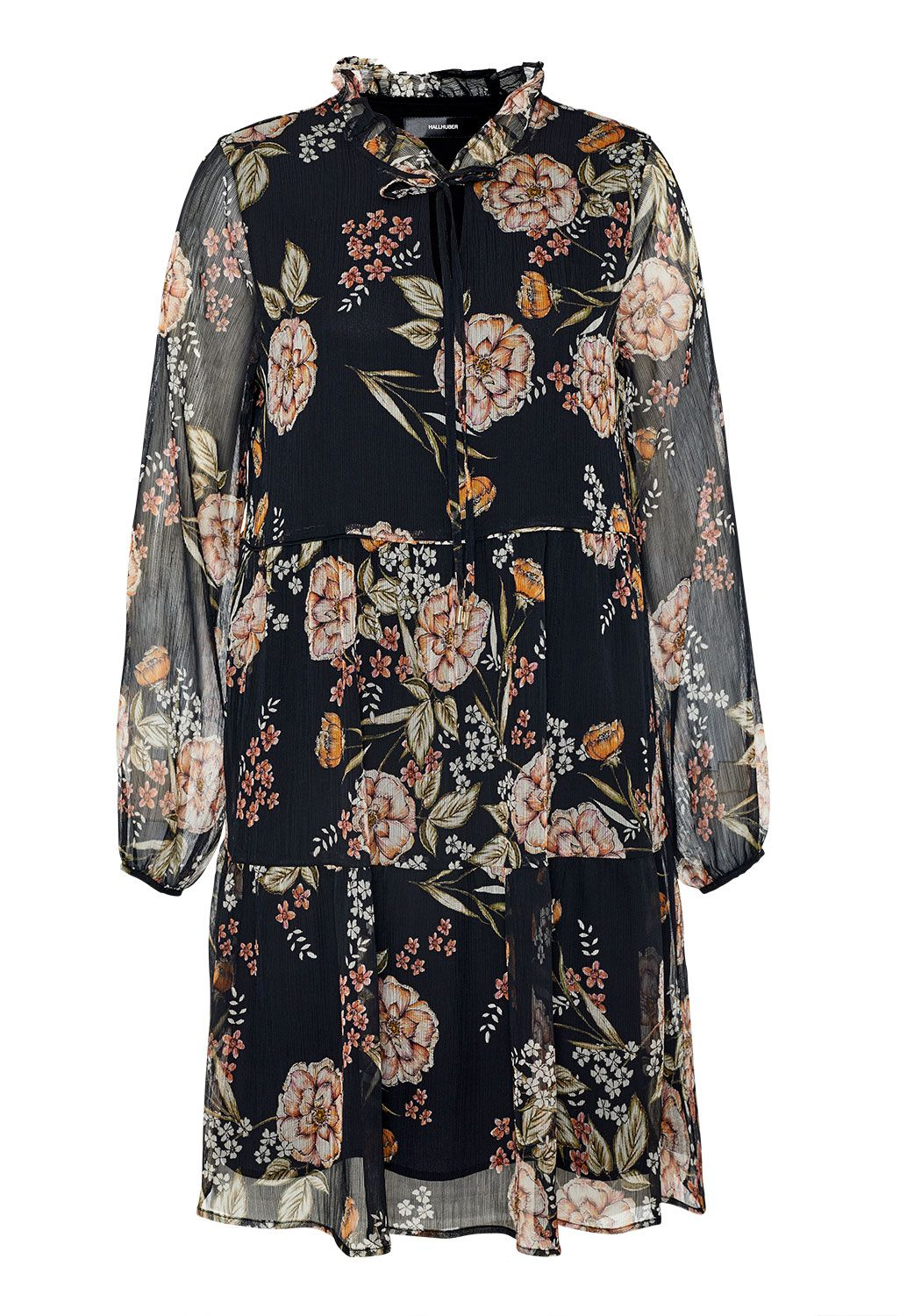 Hallhuber Tiered georgette dress with A-line cut, Multi-Coloured