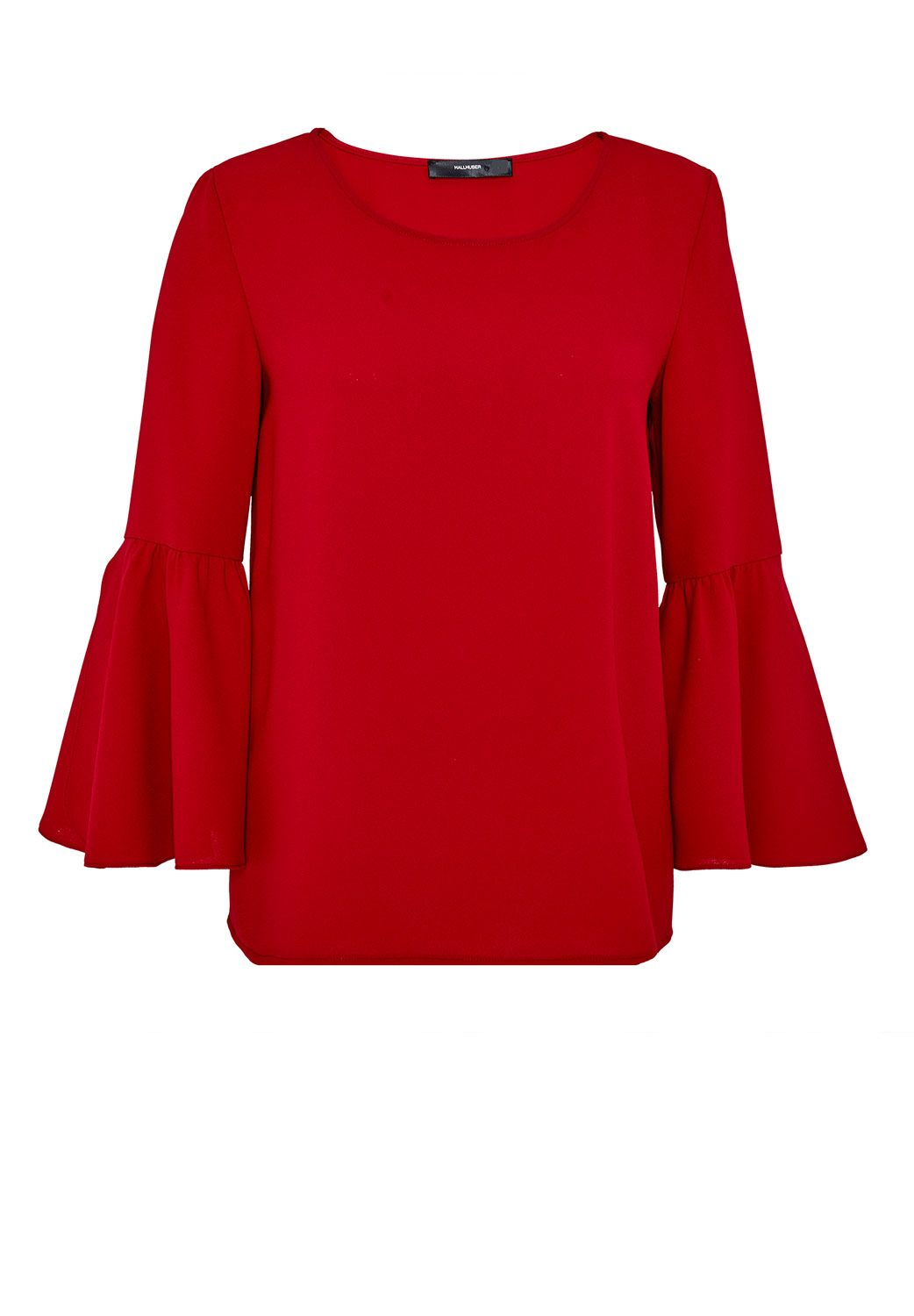 Hallhuber Flounce sleeve blouse top, Red
