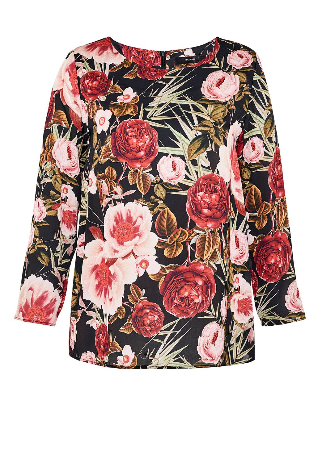 Hallhuber Rose print blouse, Multi-Coloured