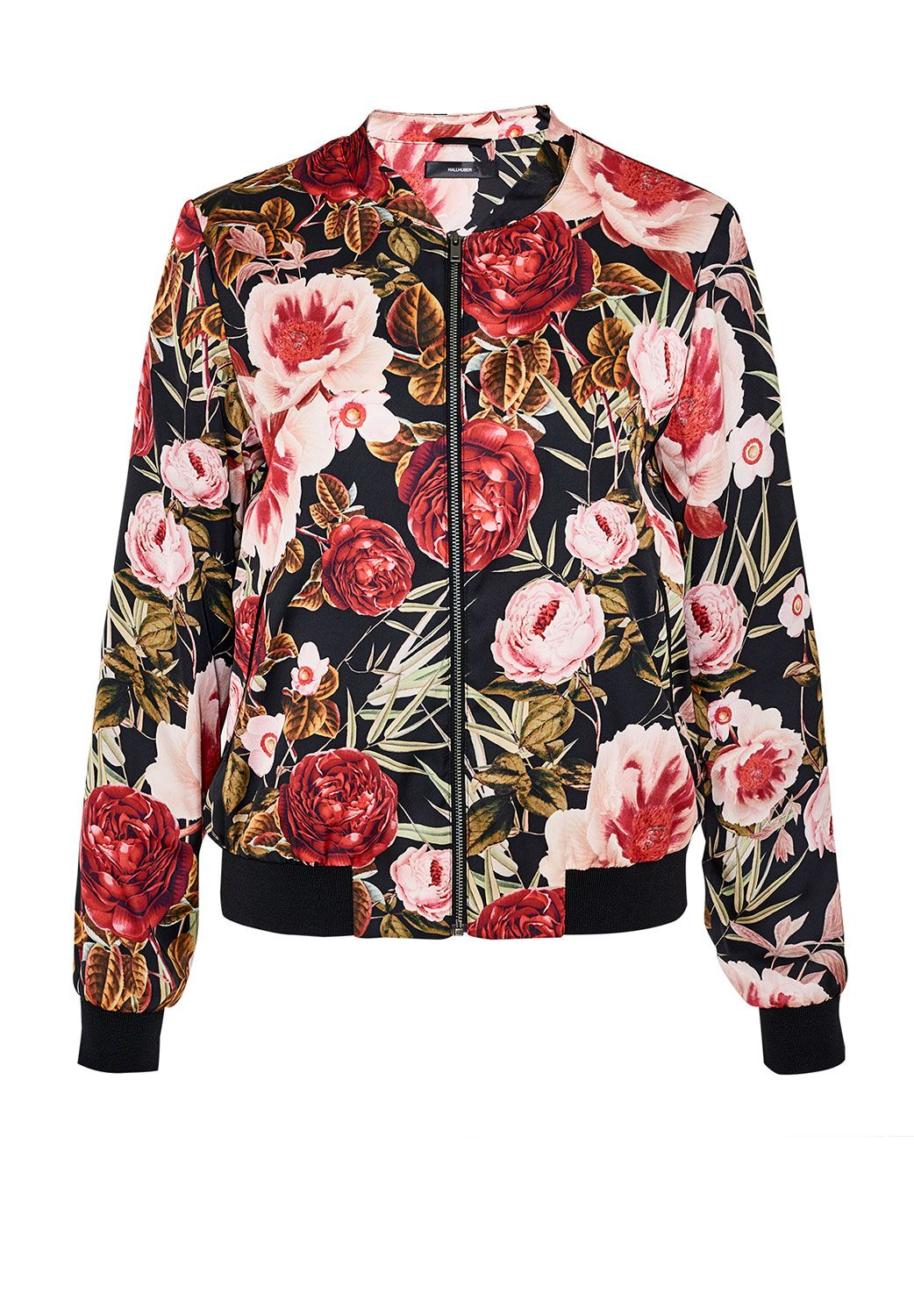 Hallhuber Satin bomber jacket with rose print, Multi-Coloured