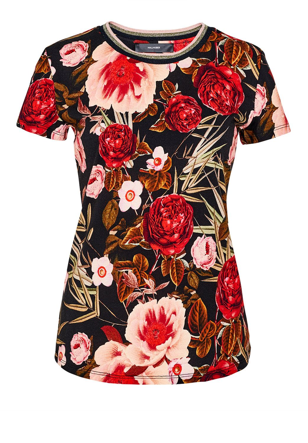 Hallhuber Rose print top with Lurex neckline, Multi-Coloured