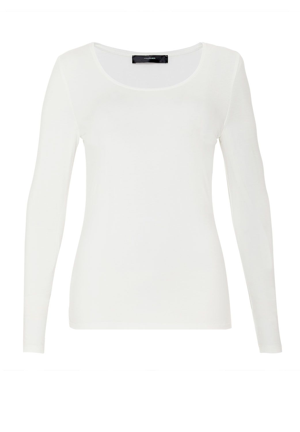 Hallhuber Basic Round Neck Long Sleeve, Off White