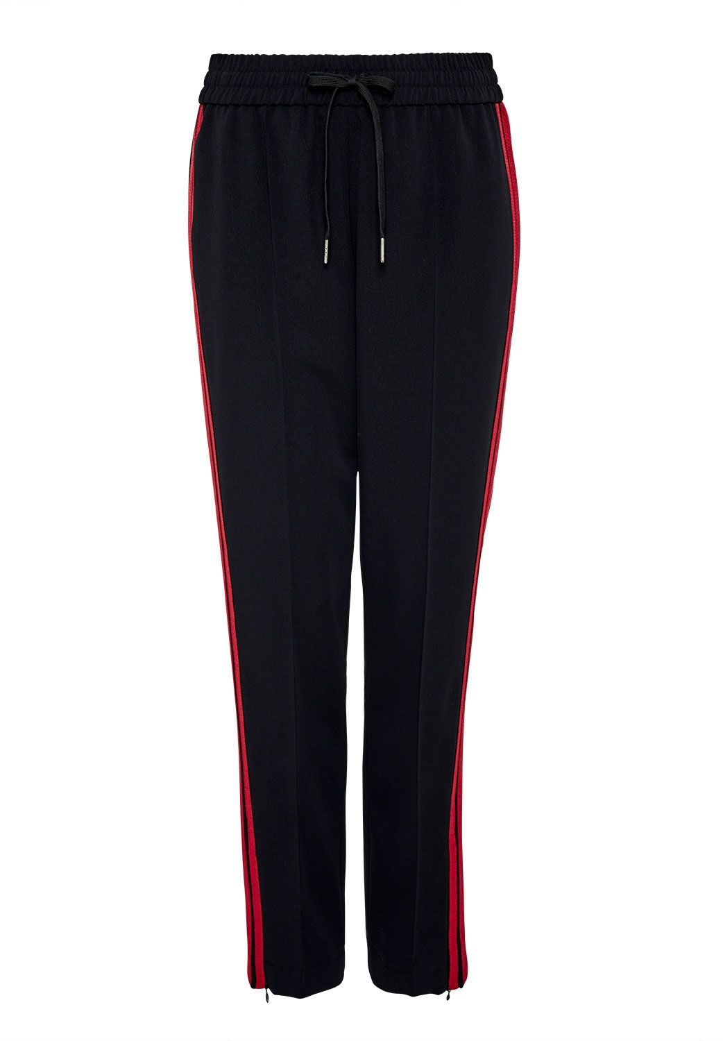 Hallhuber Tracksuit trousers with side ribbons, Black