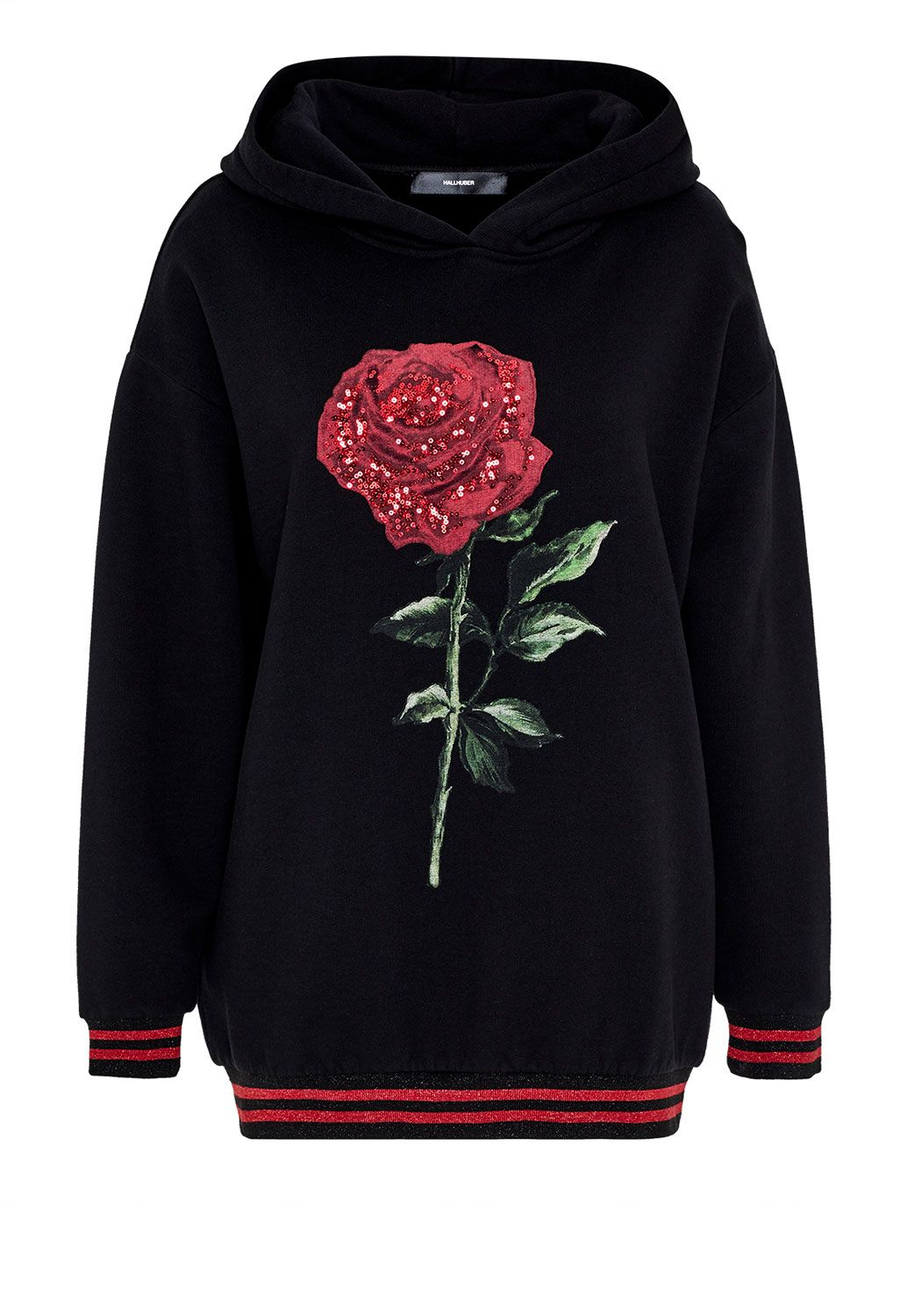Hallhuber Rose print sweatshirt with Lurex cuffs, Black
