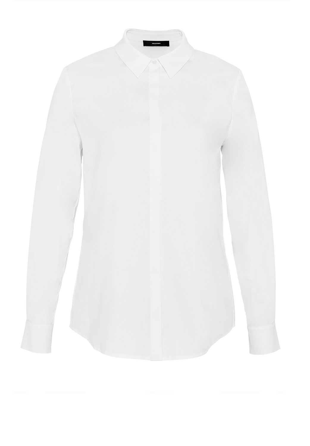 Hallhuber Shirt with concealed button placket, White