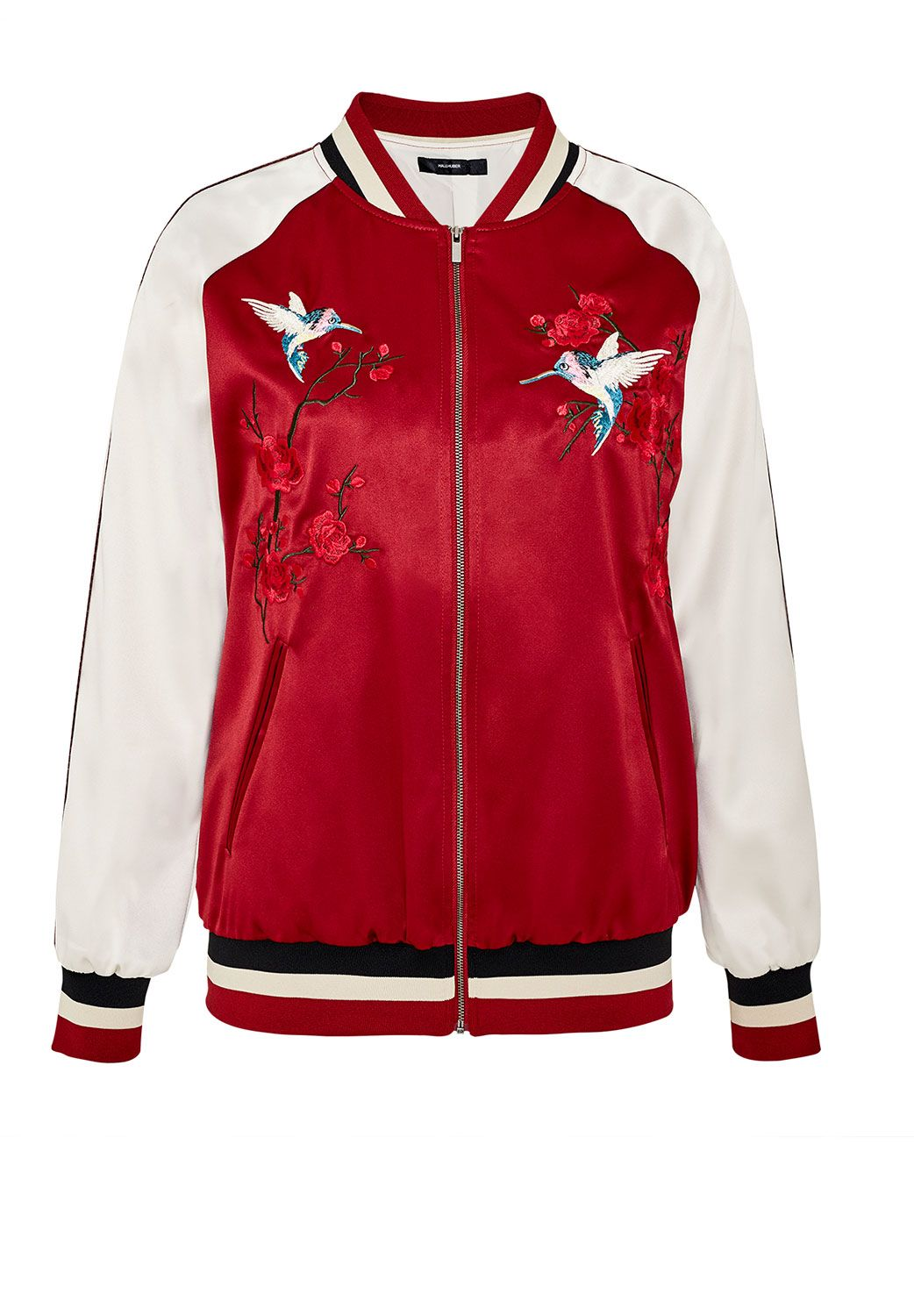 Hallhuber Embroidered satin bomber jacket, Multi-Coloured