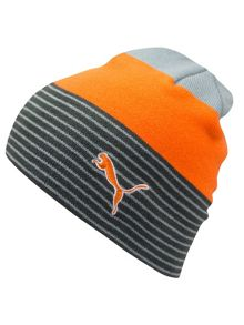 Stripe fleece lined beanie hat