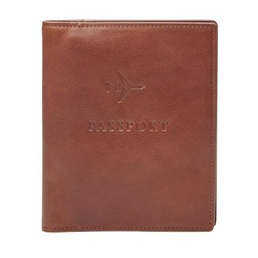 Fossil Leather rfidblocking passport case Light Brown