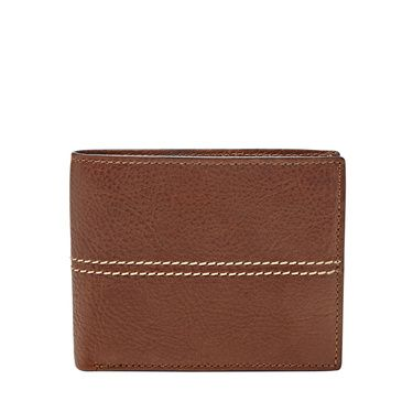 Fossil Turk blocking large coin pocket bifold Dark Brown