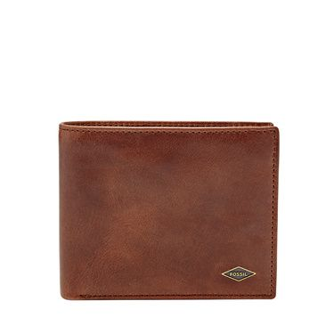 Fossil Ryan blocking large coin pocket bifold Dark Brown