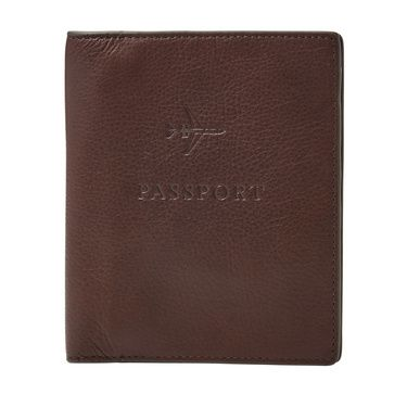 Fossil Leather rfidblocking passport case Dark Brown
