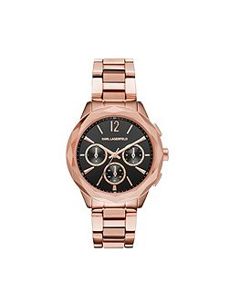KL4012 rose gold and black ladies watch