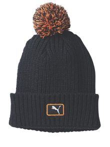 Cat Patch Pom Acrylic Mix Beanie Hat