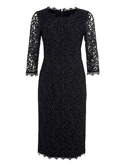 Lace Dress with 3/4 Length Sleeves