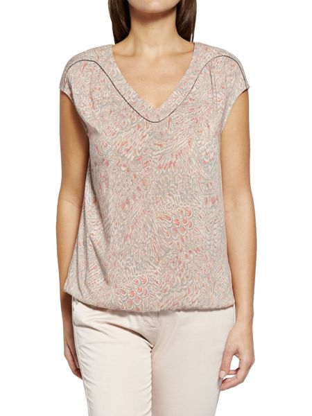 Sandwich Feather print top