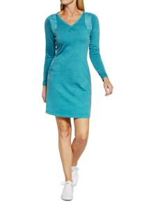 Sandwich V neck cotton dress