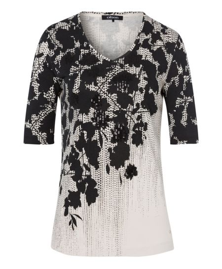 Olsen Dot and Flower Print T-Shirt