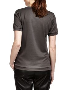 Sandwich Perforated suede T-shirt