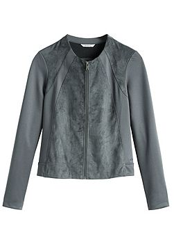 Faux suede and jersey jacket