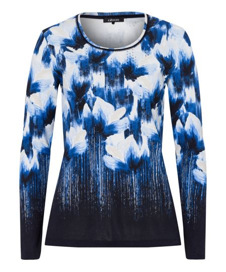 Olsen Painted flower print long sleeve T-shirt