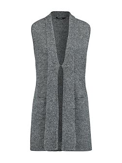 Shawl Collar sleeveless cardigan
