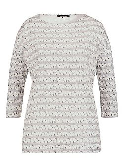 3/4 sleeve pebble print top