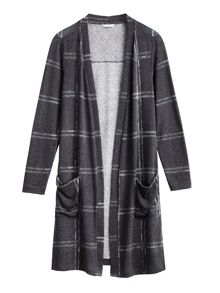 Sandwich Longline checked cardigan