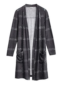 Longline checked cardigan