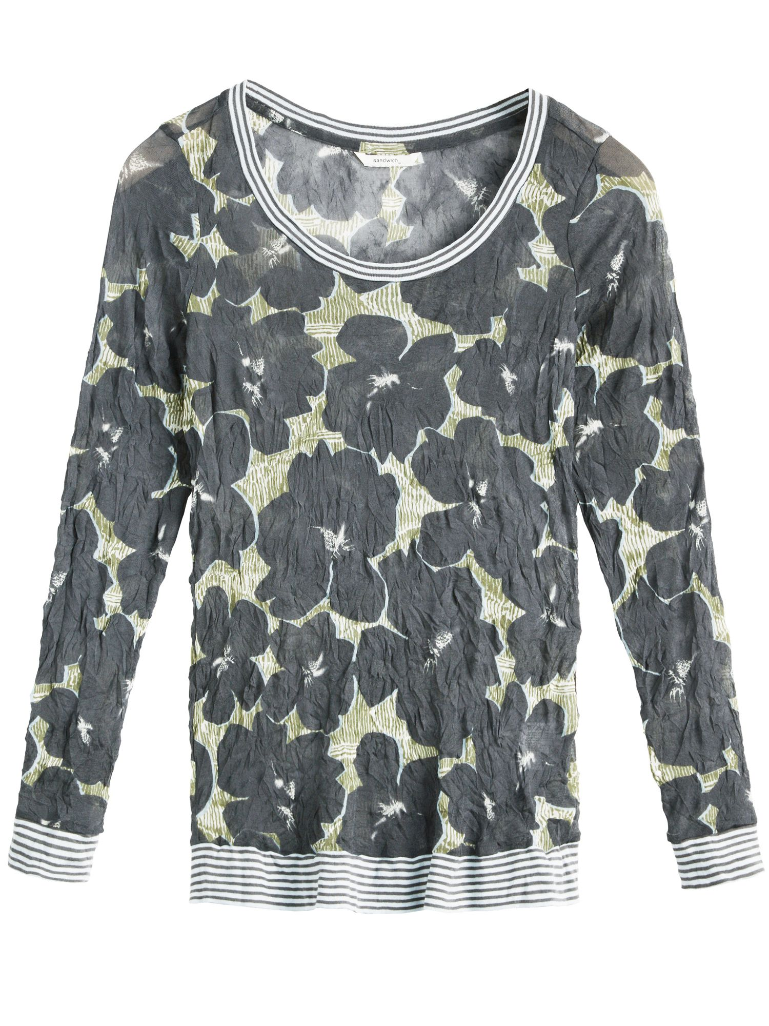Sandwich Sandwich Crinkled printed jersey top, Grey
