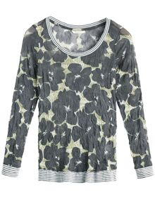 Sandwich Crinkled printed jersey top