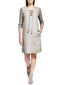 Sandwich Lace-up linen dress