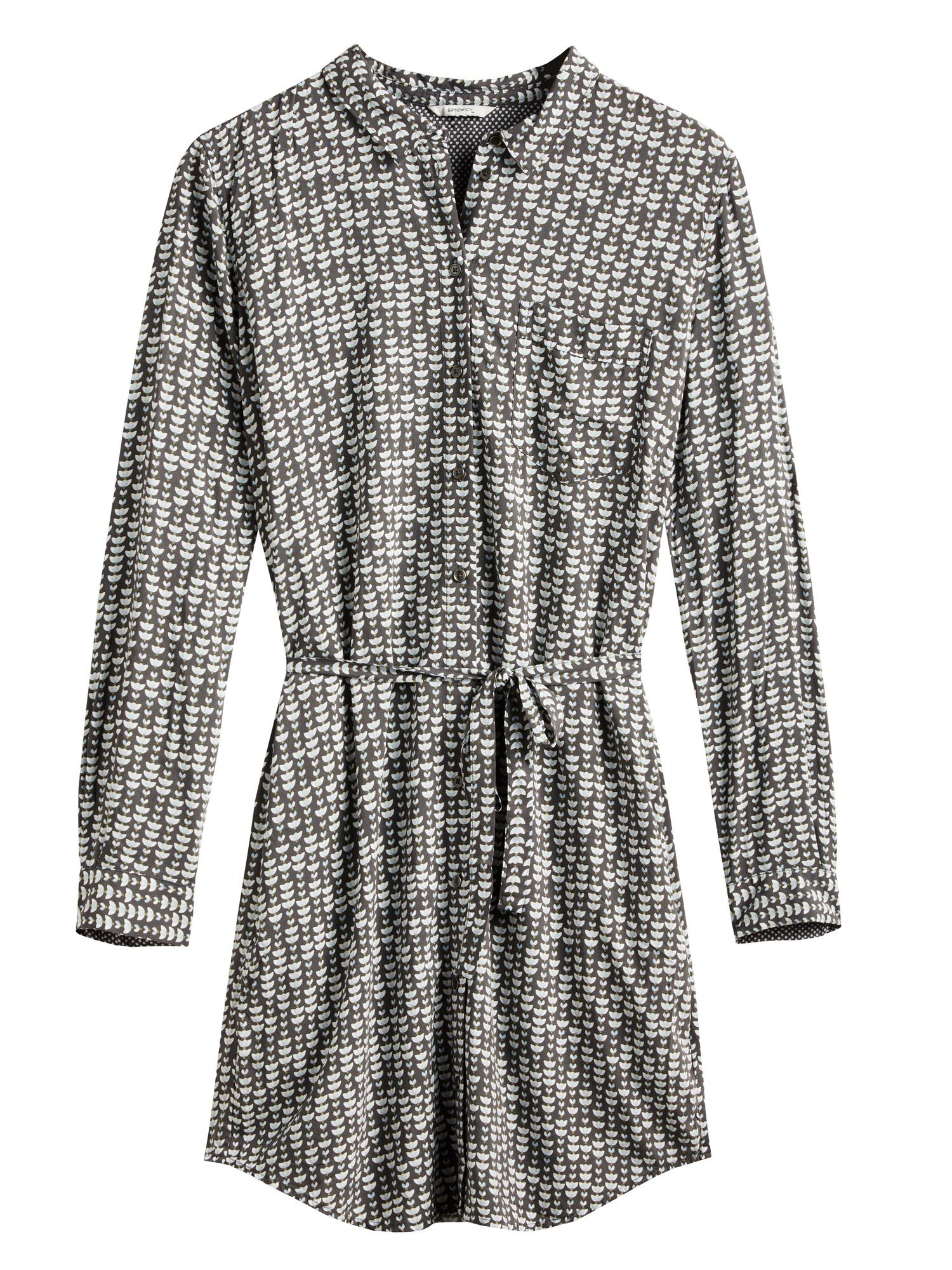 Sandwich Sandwich Printed shirt dress, Grey