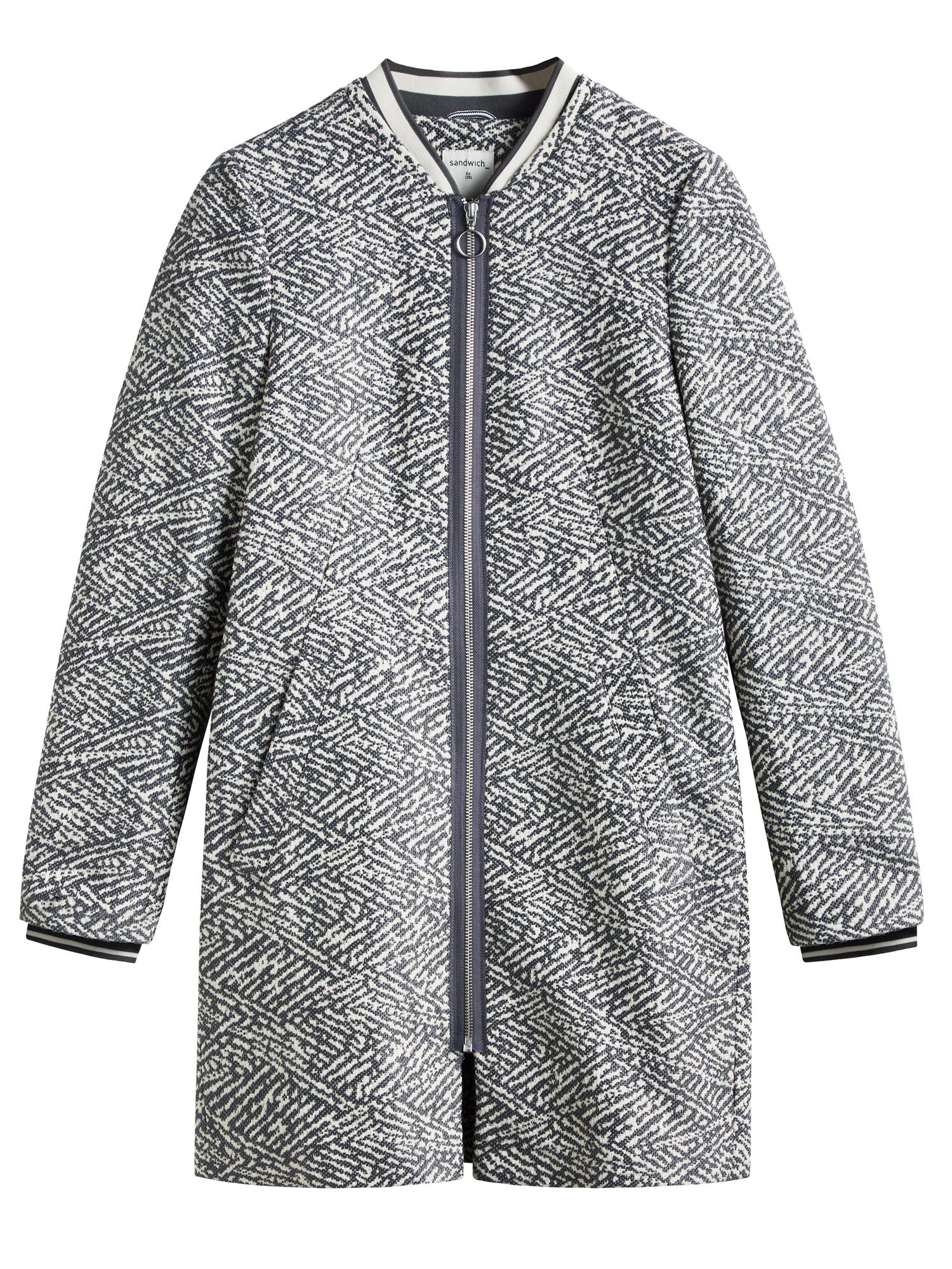 Sandwich Jacquard coat, Grey