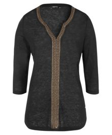 Olsen Linen embroidered detail top