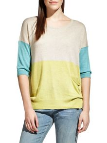 Sandwich Colour block linen blend top