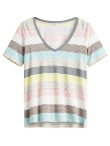 Sandwich Multicoloured V neck stripe T-shirt